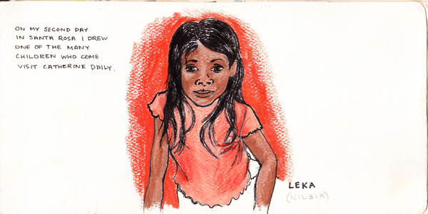 This is Leka. Later in the book there is a little boy, Xavier, who they made fun of a lot. They would show him this drawing of her and laugh at him... which translated to me that he had a little crush on her. Especially when he blushed.