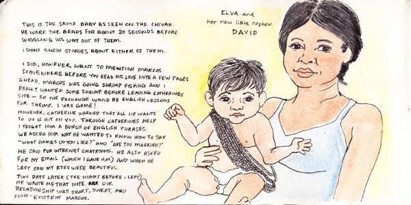 This drawing shows Elva holding her nephew, David. The story on the left, however, is mostly about Marcos who is drawn a few pages ahead.