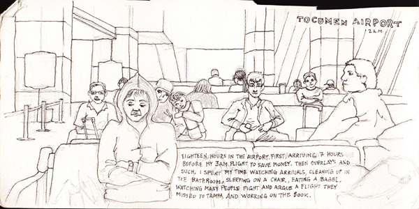 Tocumen Airport. This sketch shows the process I used throughout most of the sketchbook. First using pencil, then outlining, and finally using watercolors or colored pencils to complete the image.