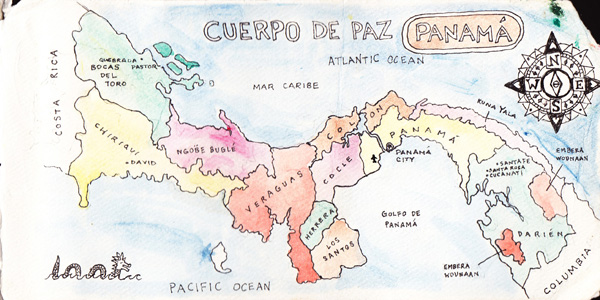 Map of Panama highlighting some important spots I visited. Cuerpo de Paz literally translates to Body of Peace and stands for Peace Corps in most Spanish speaking countries.